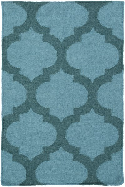 Frontier Contemporary Teal Forest Fabric Area Rug (L 36 X W 24) FT123-23