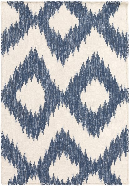 Frontier Navy Ivory Wool Rectangle  Area Rugs 616-VAR1