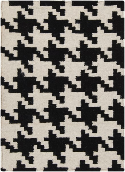 Frontier Contemporary Ivory Black Wool Area Rug (L 36 X W 24) FT18-23
