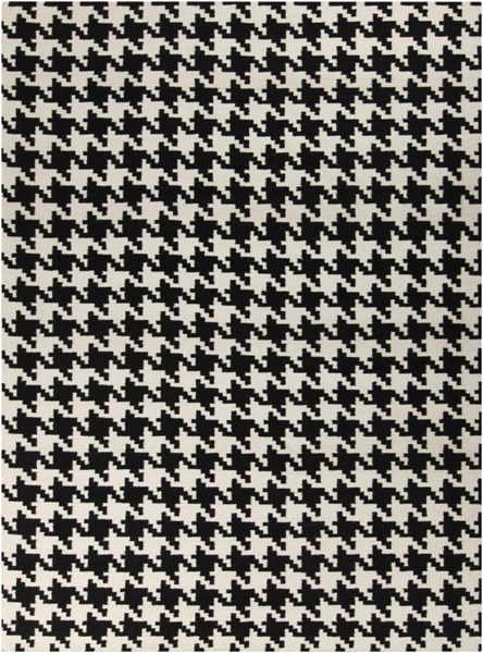 Frontier Ivory Black Wool Rectangle Area Rug (L 132 X W 96) FT18-811