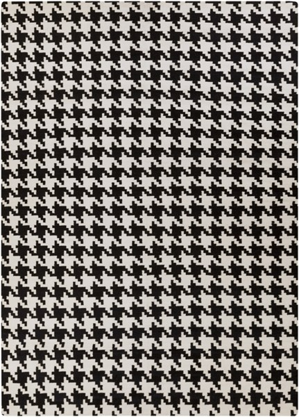 Frontier Contemporary Ivory Black Wool Area Rug (L 156 X W 108) FT18-913