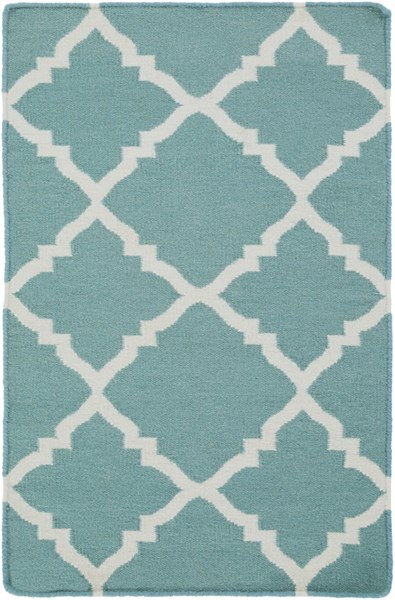 Frontier Contemporary Teal Ivory Wool Rectangle Area Rugs 618-VAR1