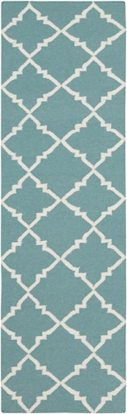 Frontier Teal Ivory Wool Runner - 30 x 96 FT221-268