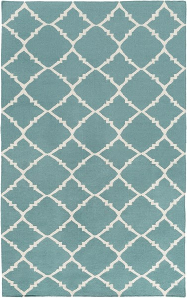 Frontier Contemporary Teal Ivory Wool Geometric Area Rug (L 96 X W 60) FT221-58