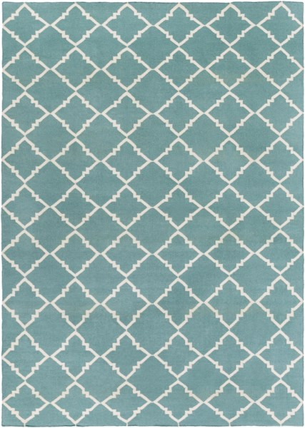 Frontier Contemporary Teal Ivory Wool Area Rug (L 132 X W 96) FT221-811