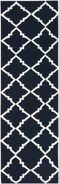Frontier Contemporary Navy Ivory Wool Geometric Runner (L 96 X W 30) FT222-268