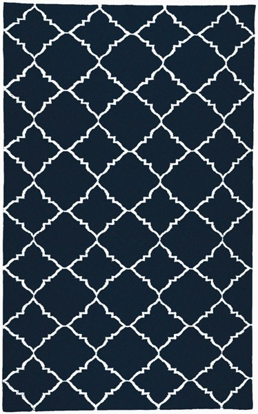 Frontier Contemporary Navy Ivory Wool Geometric Area Rug (L 96 X W 60) FT222-58