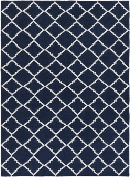 Frontier Contemporary Navy Ivory Wool Area Rug (L 132 X W 96) FT222-811