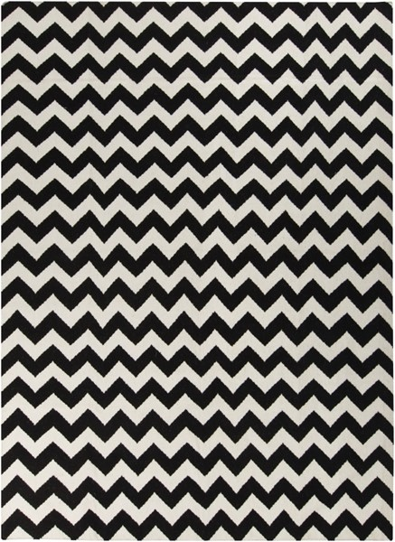 Frontier Contemporary Ivory Black Wool Area Rug (L 132 X W 96) FT238-811