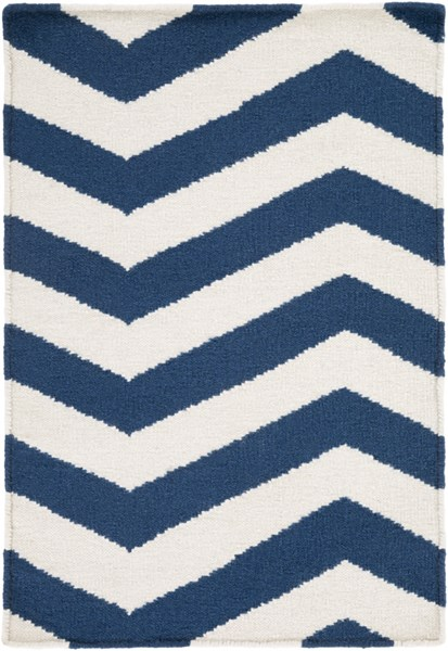 Frontier Contemporary Ivory Cobalt Wool Rectangle Area Rugs 621-VAR1