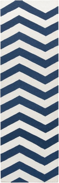 Frontier Contemporary Ivory Cobalt Wool Zig Zag Runner (L 96 X W 30) FT276-268
