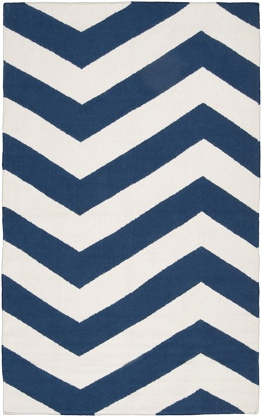 Frontier Contemporary Ivory Cobalt Wool Area Rug (L 96 X W 60) FT276-58