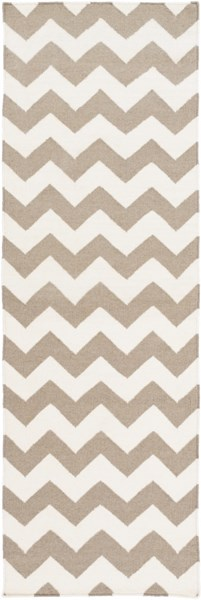 Frontier Contemporary Ivory Taupe Wool Zig Zag Runner (L 96 X W 30) FT289-268