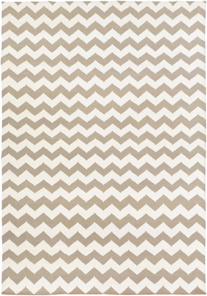 Frontier Contemporary Ivory Taupe Wool Zig Zag Area Rug (L 132 X W 96) FT289-811