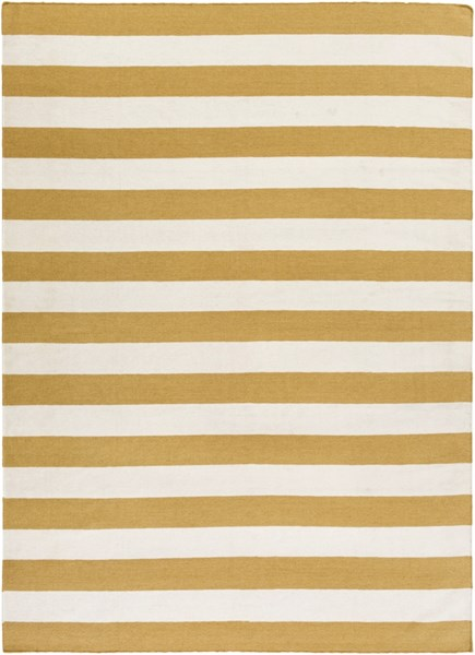 Frontier Contemporary Ivory Gold Wool Area Rug (L 132 X W 96) FT294-811