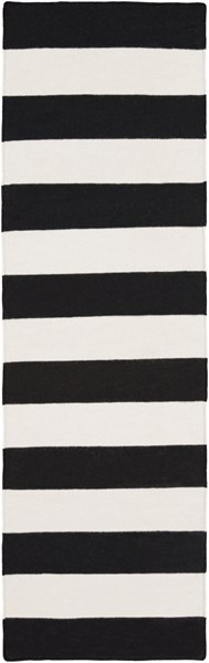 Frontier Contemporary Ivory Black Wool Runner (L 96 X W 30) FT295-268