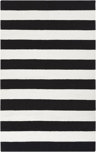 Frontier Contemporary Ivory Black Wool Area Rug (L 96 X W 60) FT295-58