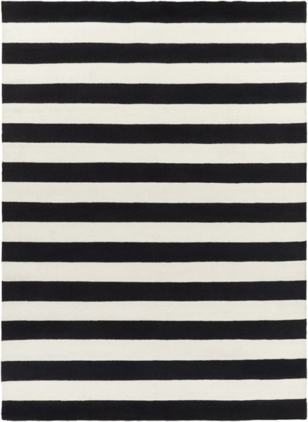 Frontier Ivory Black Wool Area Rug - 96 x 132 FT295-811