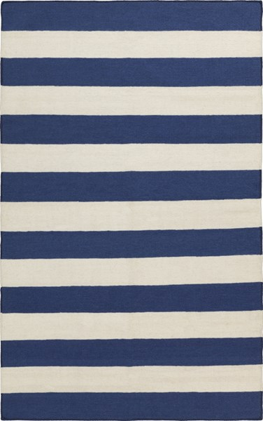 Frontier Contemporary Ivory Cobalt Wool Striped Area Rug (L 96 X W 60) FT298-58