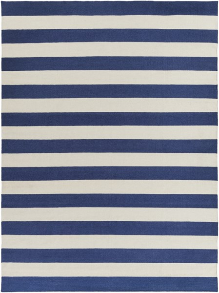 Frontier Contemporary Ivory Cobalt Wool Area Rug (L 132 X W 96) FT298-811