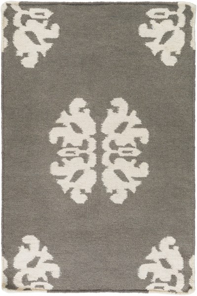 Frontier Contemporary Ivory Charcoal Wool Area Rugs 622-VAR1