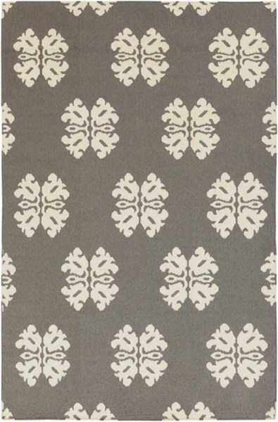 Frontier Contemporary Ivory Charcoal Wool Area Rug (L 96 X W 60) FT360-58
