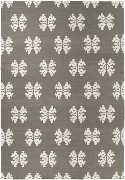 Frontier Contemporary Ivory Charcoal Wool Area Rug (L 132 X W 96) FT360-811