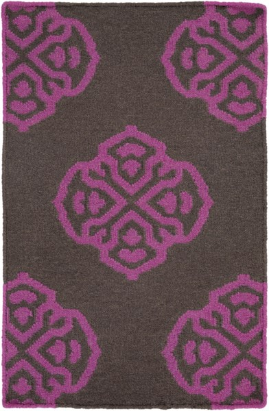 Frontier Contemporary Magenta Charcoal Wool Area Rug (L 36 X W 24) FT365-23