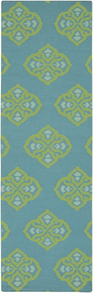 Frontier Teal Lime Mint Wool Runner - 30 x 96 FT371-268