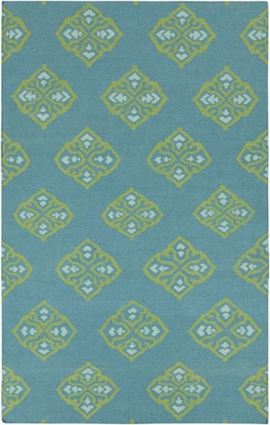 Frontier Teal Lime Mint Wool Area Rug - 60 x 96 FT371-58
