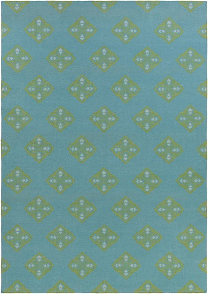 Frontier Teal Lime Mint Wool Area Rug - 96 x 132 FT371-811
