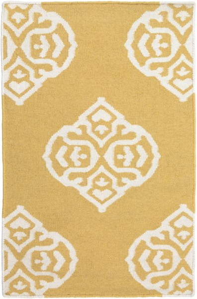 Frontier Contemporary Gold Ivory Wool Area Rug (L 36 X W 24) FT376-23