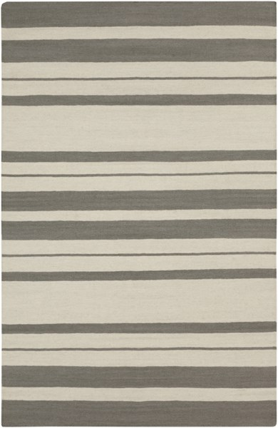 Frontier Contemporary Ivory Gray Wool Area Rug (L 96 X W 60) FT428-58