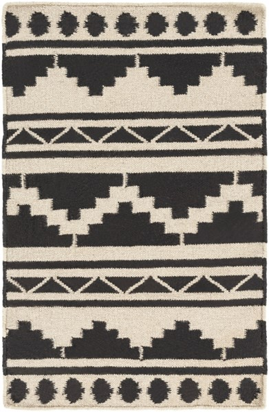 Frontier Global-Inspired Gray Black Wool Area Rug (L 36 X W 24) FT431-23