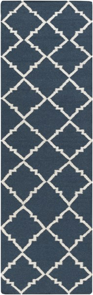 Frontier Contemporary Ivory Navy Wool Geometric Runner (L 96 X W 30) FT451-268