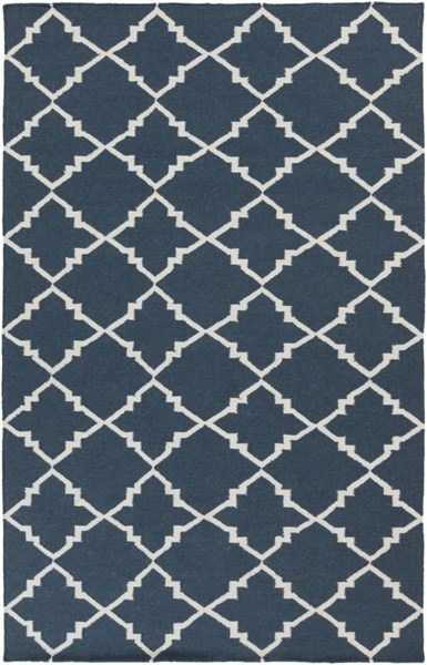 Frontier Contemporary Ivory Navy Wool Area Rug (L 96 X W 60) FT451-58