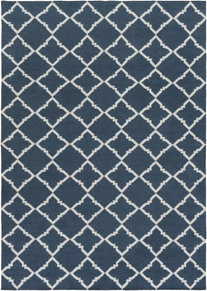 Frontier Contemporary Ivory Navy Wool Area Rug (L 132 X W 96) FT451-811