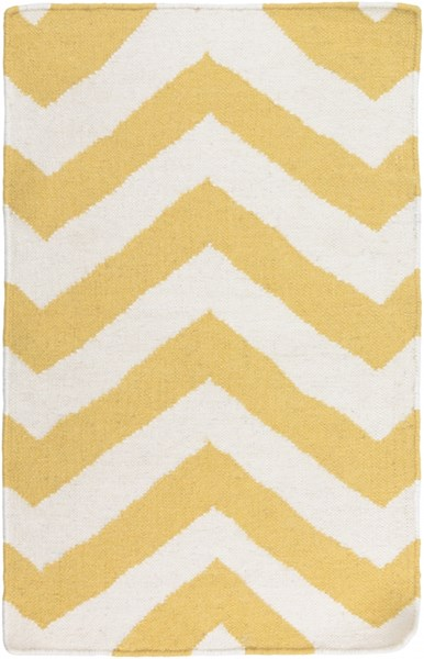 Frontier Contemporary Gold Ivory Wool Area Rugs 620-VAR1