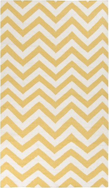Frontier Contemporary Gold Ivory Wool Area Rug (L 96 X W 60) FT453-58