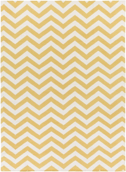 Frontier Contemporary Gold Ivory Wool Rectangle Area Rug FT453-811