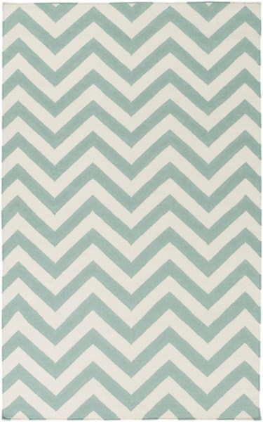Frontier Contemporary Teal Ivory Wool Rectangle Area Rug (L 96 X W 60) FT454-58