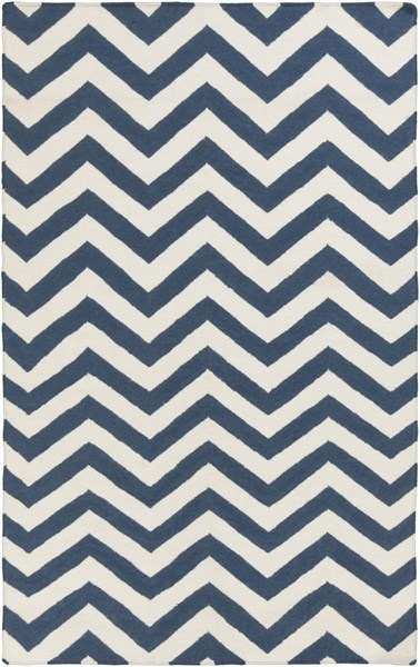 Frontier Contemporary Navy Ivory Wool Area Rug (L 96 X W 60) FT455-58