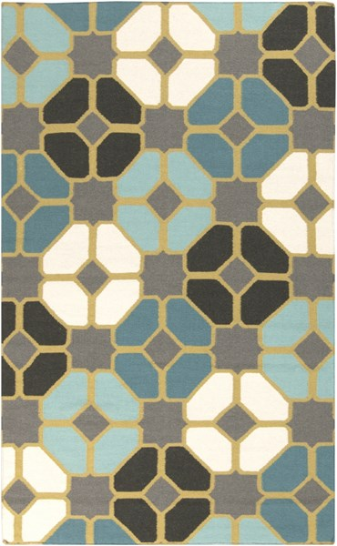 Frontier Teal Gray Olive Wool Area Rug - 60 x 96 FT459-58