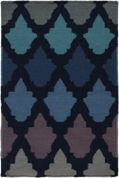 Frontier Contemporary Navy Teal Cobalt Wool Area Rug (L 36 X W 24) FT461-23
