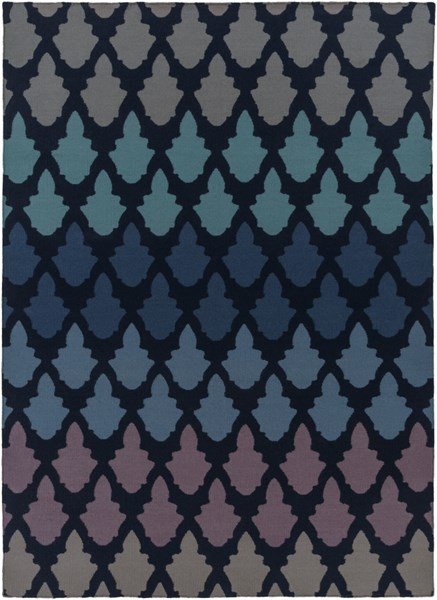Frontier Contemporary Navy Teal Cobalt Wool Area Rug (L 132 X W 96) FT461-811