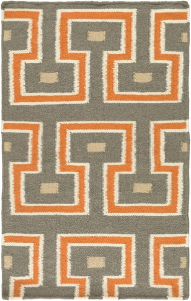 Frontier Contemporary Charcoal Burnt Orange Ivory Fabric Area Rugs 786-VAR1