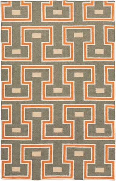 Frontier Charcoal Burnt Orange Ivory Fabric Area Rug (L 96 X W 60) FT471-58