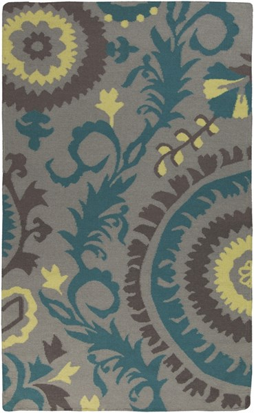 Frontier Teal Gray Charcoal Wool Area Rug - 60 x 96 FT472-58