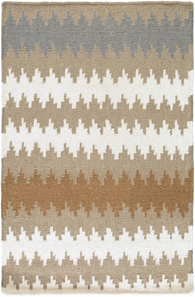 Frontier Contemporary Mocha Ivory Gray Wool Area Rugs 1335-VAR1