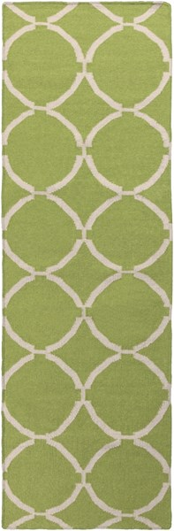 Frontier Contemporary Lime Ivory Wool Geometric Runner (L 96 X W 30) FT495-268